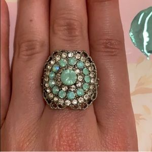 Beautiful ice blue and crystal patterned ring